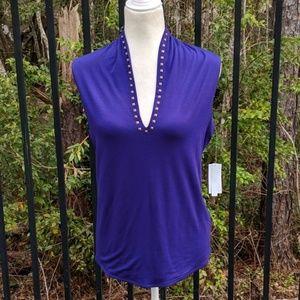 Royal purple studded shirt- Sale!